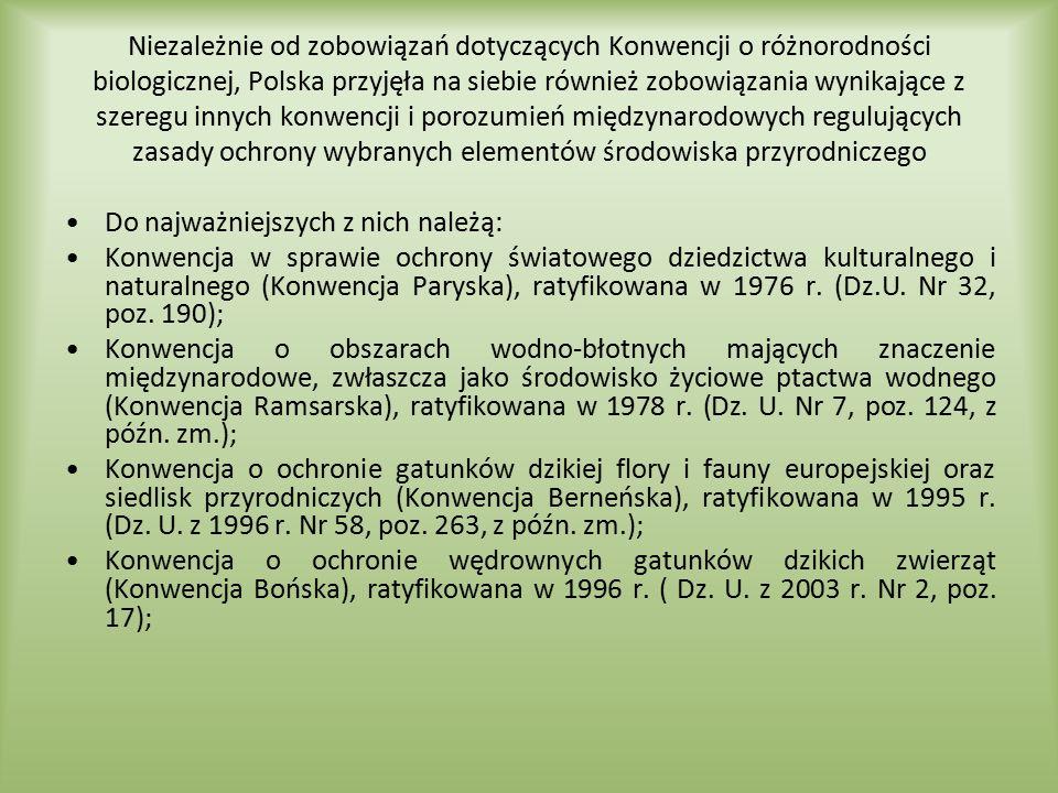 Niezależnie od zobowiązań dotyczących Konwencji o różnorodności biologicznej, Polska przyjęła na siebie również zobowiązania wynikające z szeregu inny