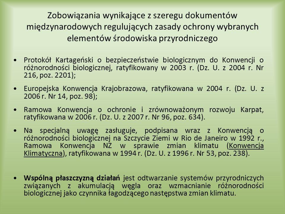 Zobowiązania wynikające z szeregu dokumentów międzynarodowych regulujących zasady ochrony wybranych elementów środowiska przyrodniczego Protokół Karta