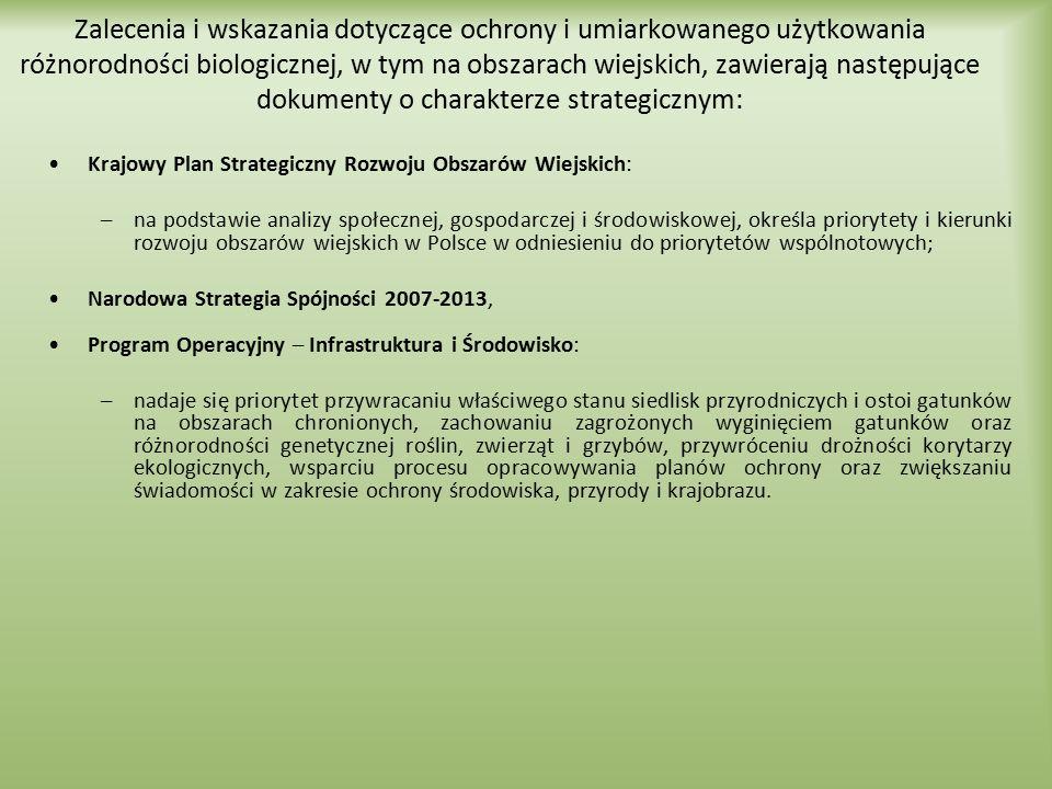 Zalecenia i wskazania dotyczące ochrony i umiarkowanego użytkowania różnorodności biologicznej, w tym na obszarach wiejskich, zawierają następujące do
