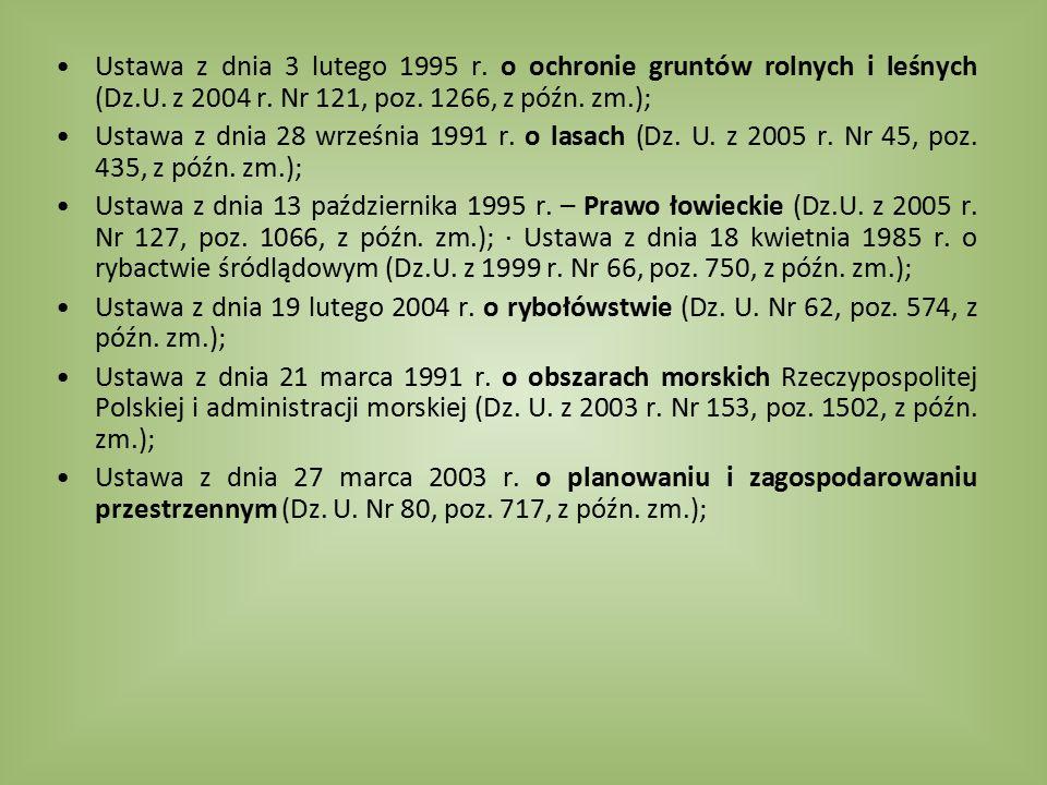 Ustawa z dnia 3 lutego 1995 r. o ochronie gruntów rolnych i leśnych (Dz.U. z 2004 r. Nr 121, poz. 1266, z późn. zm.); Ustawa z dnia 28 września 1991 r
