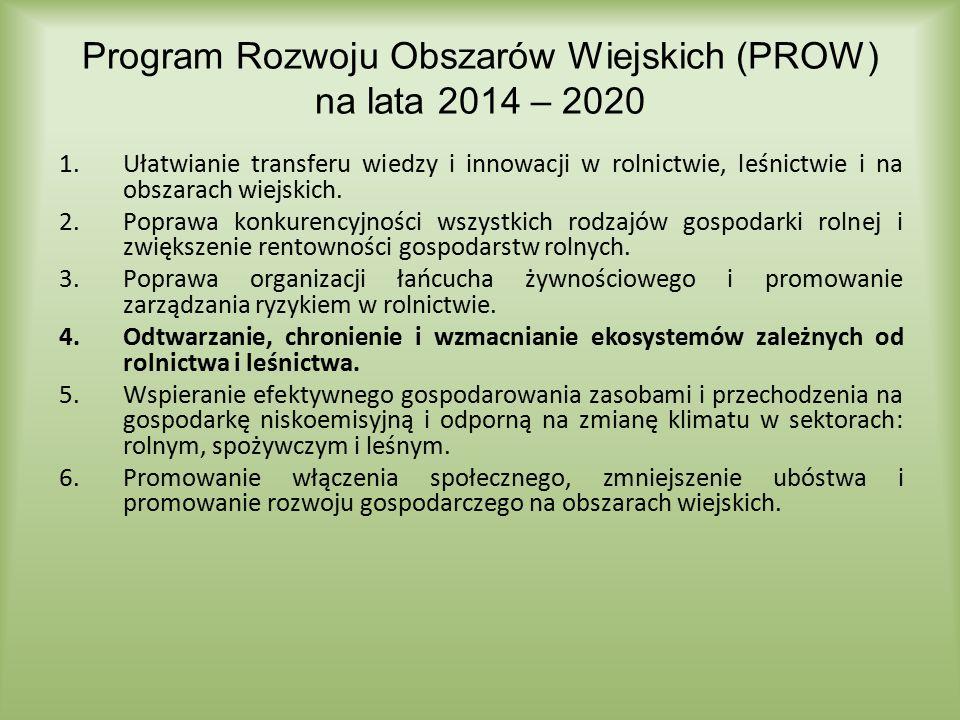Program Rozwoju Obszarów Wiejskich (PROW) na lata 2014 – 2020 1.Ułatwianie transferu wiedzy i innowacji w rolnictwie, leśnictwie i na obszarach wiejsk