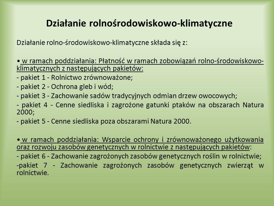 Działanie rolnośrodowiskowo-klimatyczne Działanie rolno-środowiskowo-klimatyczne składa się z: w ramach poddziałania: Płatność w ramach zobowiązań rol