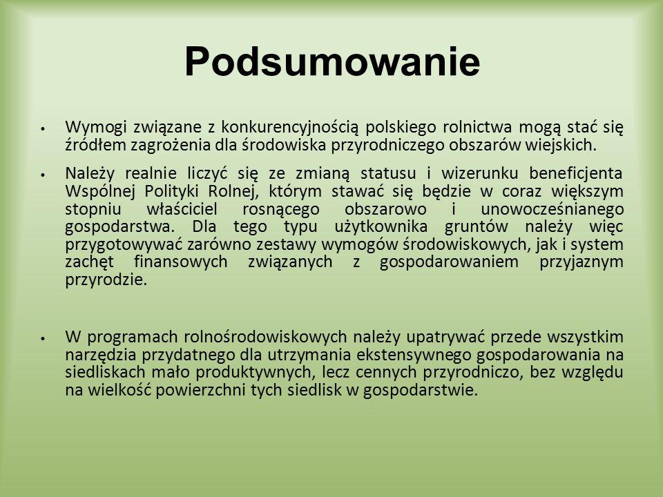 Wymogi związane z konkurencyjnością polskiego rolnictwa mogą stać się źródłem zagrożenia dla środowiska przyrodniczego obszarów wiejskich. Należy real