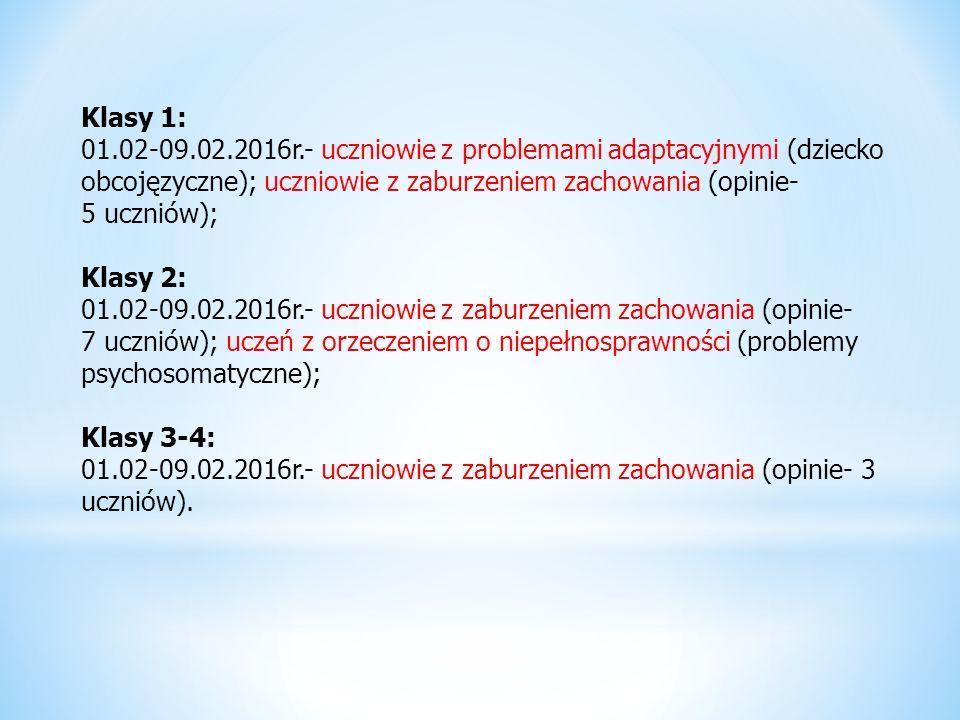 Klasy 1: 01.02-09.02.2016r.- uczniowie z problemami adaptacyjnymi (dziecko obcojęzyczne); uczniowie z zaburzeniem zachowania (opinie- 5 uczniów); Klasy 2: 01.02-09.02.2016r.- uczniowie z zaburzeniem zachowania (opinie- 7 uczniów); uczeń z orzeczeniem o niepełnosprawności (problemy psychosomatyczne); Klasy 3-4: 01.02-09.02.2016r.- uczniowie z zaburzeniem zachowania (opinie- 3 uczniów).