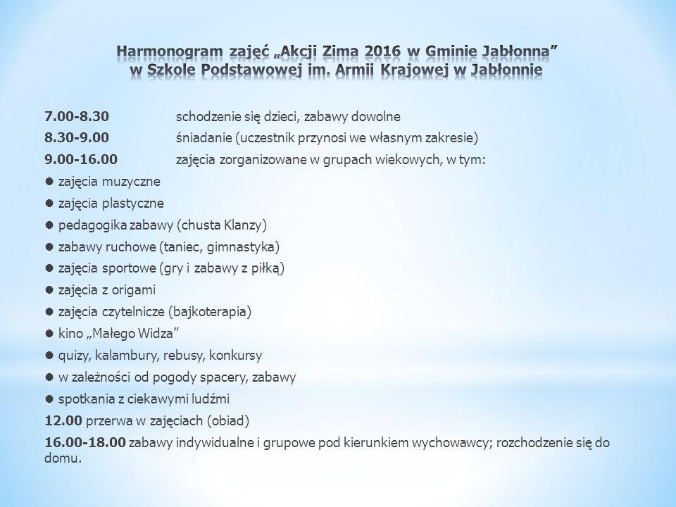 7.00-8.30schodzenie się dzieci, zabawy dowolne 8.30-9.00śniadanie (uczestnik przynosi we własnym zakresie) 9.00-16.00zajęcia zorganizowane w grupach w