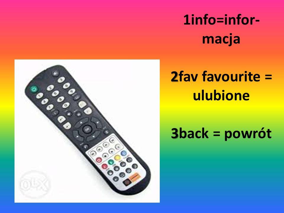 2 3 1info=infor- macja 2fav favourite = ulubione 3back = powrót