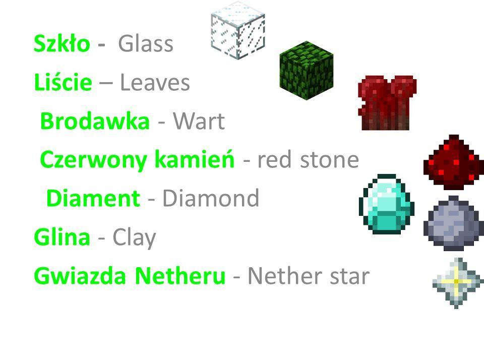Szkło - Glass Liście – Leaves Brodawka - Wart Czerwony kamień - red stone Diament - Diamond Glina - Clay Gwiazda Netheru - Nether star