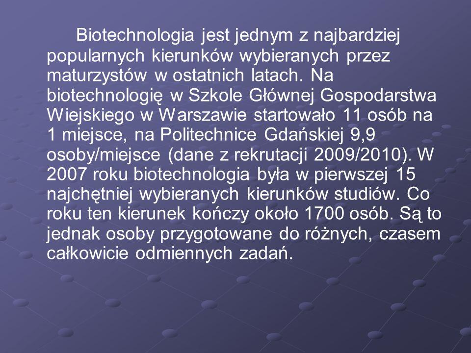 Biotechnologia jest jednym z najbardziej popularnych kierunków wybieranych przez maturzystów w ostatnich latach. Na biotechnologię w Szkole Głównej Go