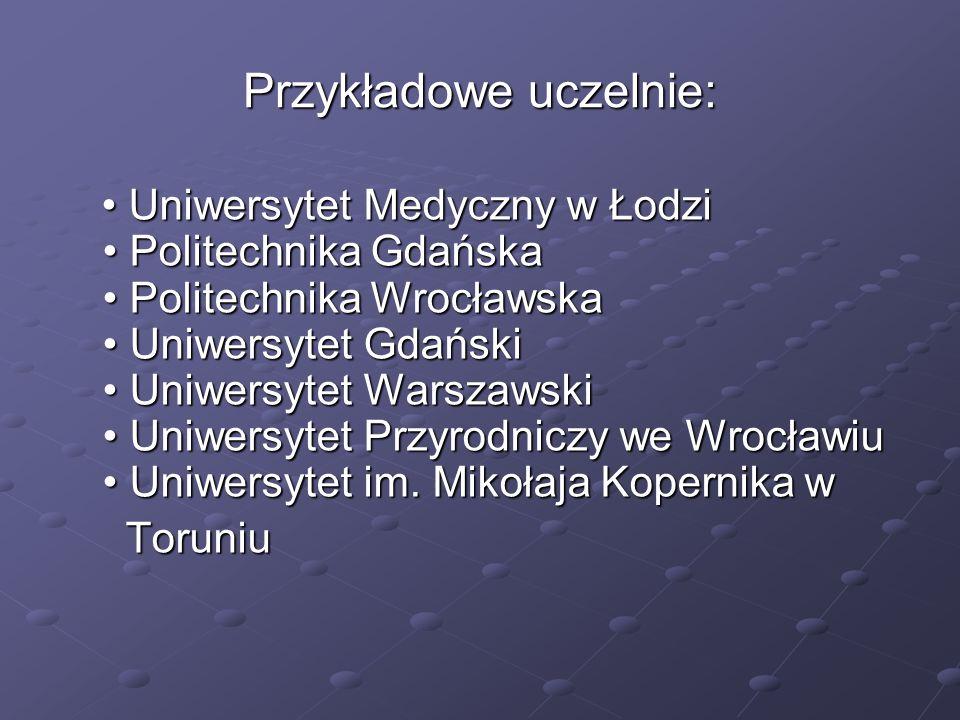 Przykładowe uczelnie: Uniwersytet Medyczny w Łodzi Politechnika Gdańska Politechnika Wrocławska Uniwersytet Gdański Uniwersytet Warszawski Uniwersytet Przyrodniczy we Wrocławiu Uniwersytet im.