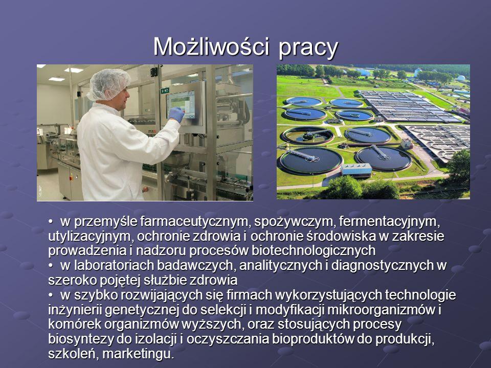 Możliwości pracy w przemyśle farmaceutycznym, spożywczym, fermentacyjnym, utylizacyjnym, ochronie zdrowia i ochronie środowiska w zakresie prowadzenia
