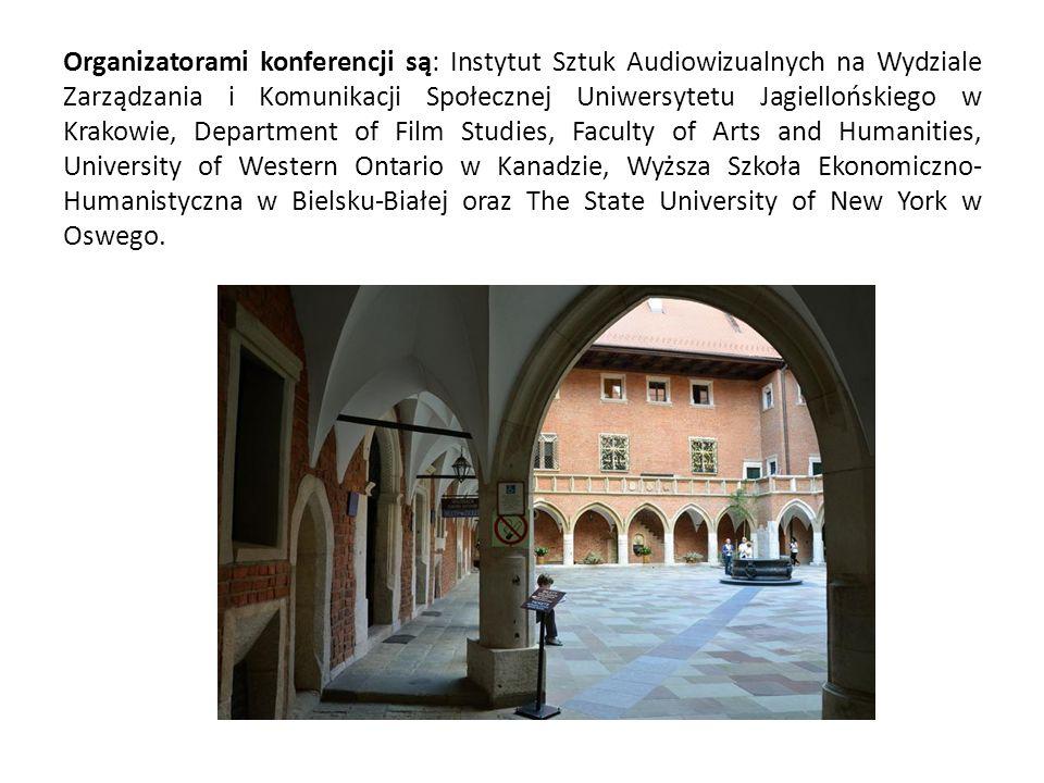 Organizatorami konferencji są: Instytut Sztuk Audiowizualnych na Wydziale Zarządzania i Komunikacji Społecznej Uniwersytetu Jagiellońskiego w Krakowie, Department of Film Studies, Faculty of Arts and Humanities, University of Western Ontario w Kanadzie, Wyższa Szkoła Ekonomiczno- Humanistyczna w Bielsku-Białej oraz The State University of New York w Oswego.