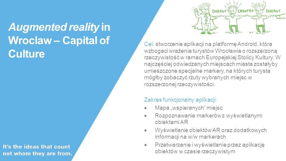 Public Augmented reality in Wroclaw – Capital of Culture Cel: stworzenie aplikacji na platformę Android, która wzbogaci wrażenia turystów Wrocławia o rozszerzoną rzeczywistość w ramach Europejskiej Stolicy Kultury.