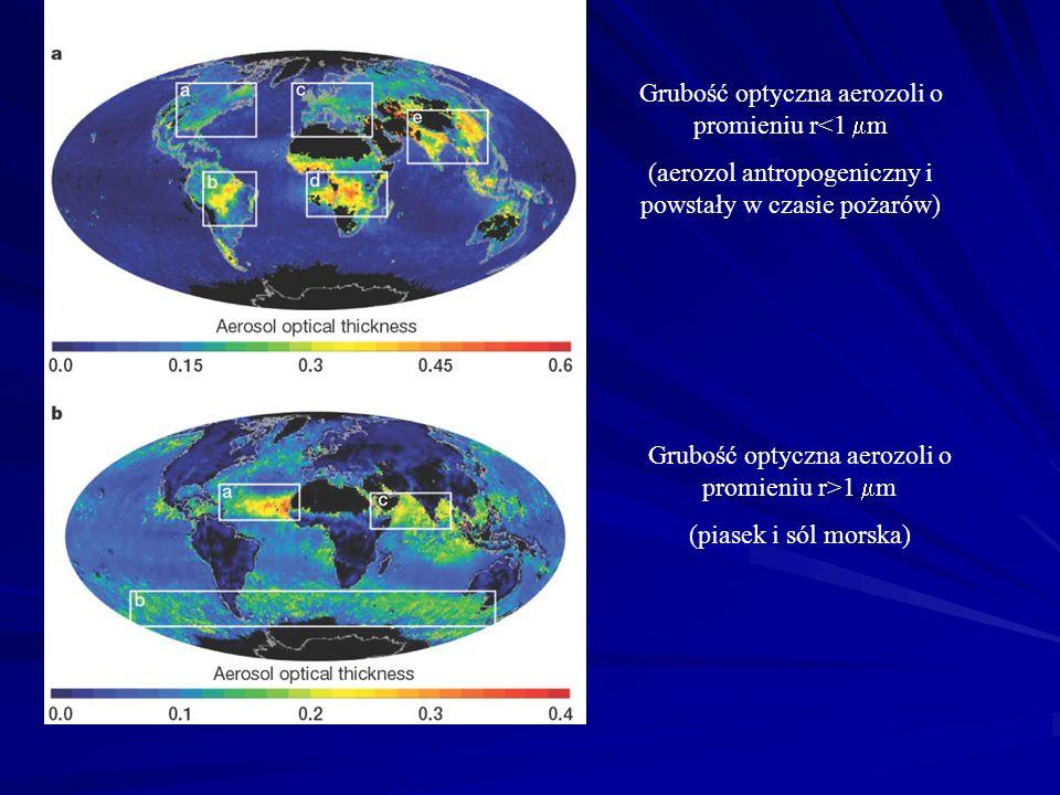 Grubość optyczna aerozoli o promieniu r<1  m (aerozol antropogeniczny i powstały w czasie pożarów) Grubość optyczna aerozoli o promieniu r>1  m (pia