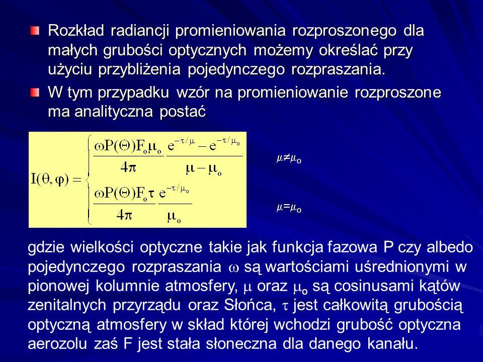 Rozkład radiancji promieniowania rozproszonego dla małych grubości optycznych możemy określać przy użyciu przybliżenia pojedynczego rozpraszania. W ty