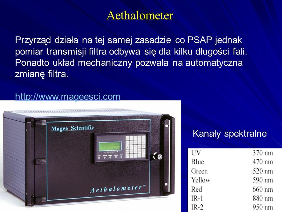Aethalometer Przyrząd działa na tej samej zasadzie co PSAP jednak pomiar transmisji filtra odbywa się dla kilku długości fali. Ponadto układ mechanicz