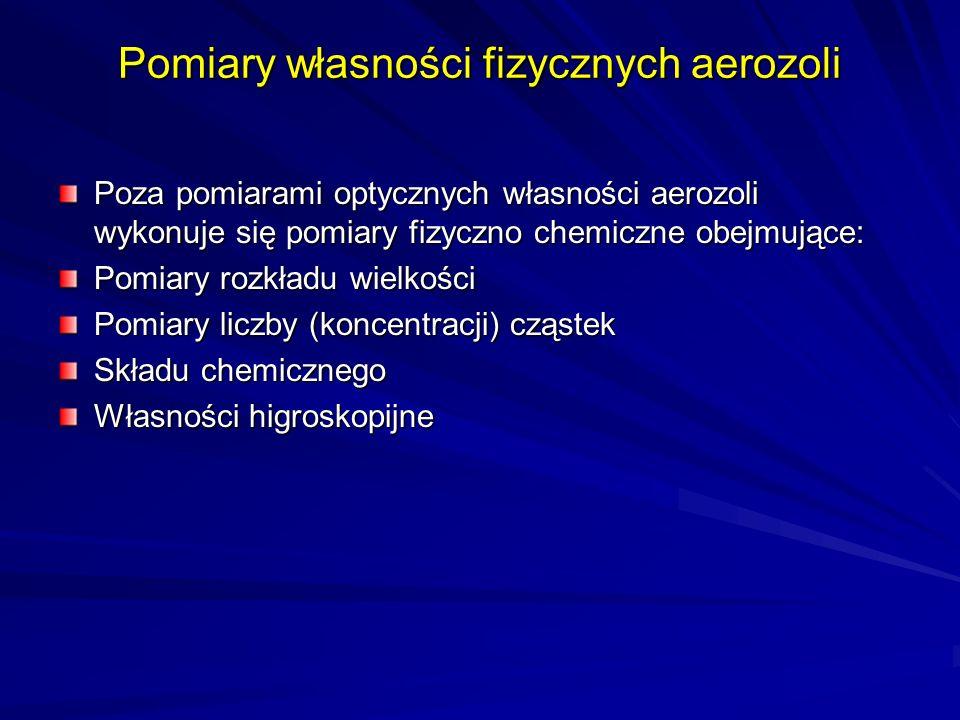 Pomiary własności fizycznych aerozoli Poza pomiarami optycznych własności aerozoli wykonuje się pomiary fizyczno chemiczne obejmujące: Pomiary rozkład