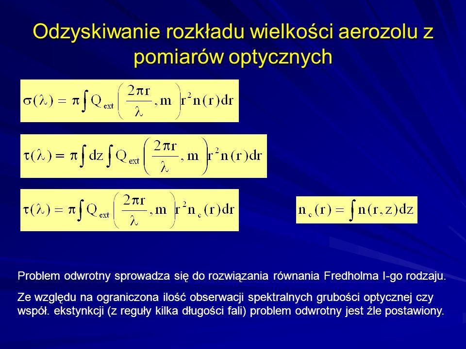 Odzyskiwanie rozkładu wielkości aerozolu z pomiarów optycznych Problem odwrotny sprowadza się do rozwiązania równania Fredholma I-go rodzaju. Ze wzglę