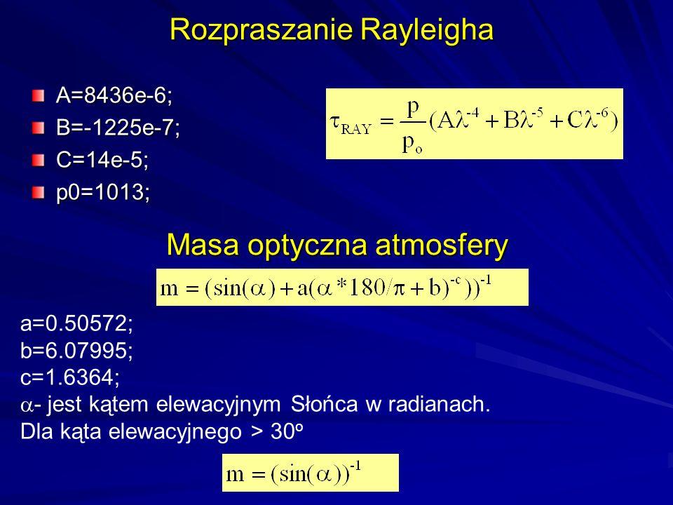 Masa optyczna atmosfery A=8436e-6;B=-1225e-7;C=14e-5;p0=1013; Rozpraszanie Rayleigha a=0.50572; b=6.07995; c=1.6364;  - jest kątem elewacyjnym Słońca