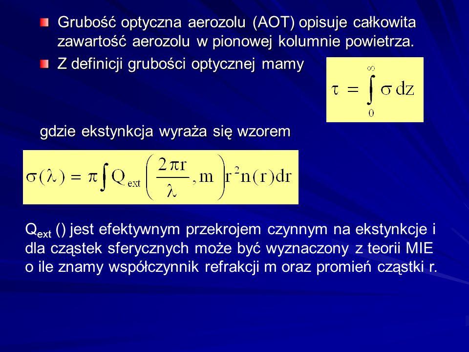 Grubość optyczna aerozolu (AOT) opisuje całkowita zawartość aerozolu w pionowej kolumnie powietrza. Z definicji grubości optycznej mamy gdzie ekstynkc