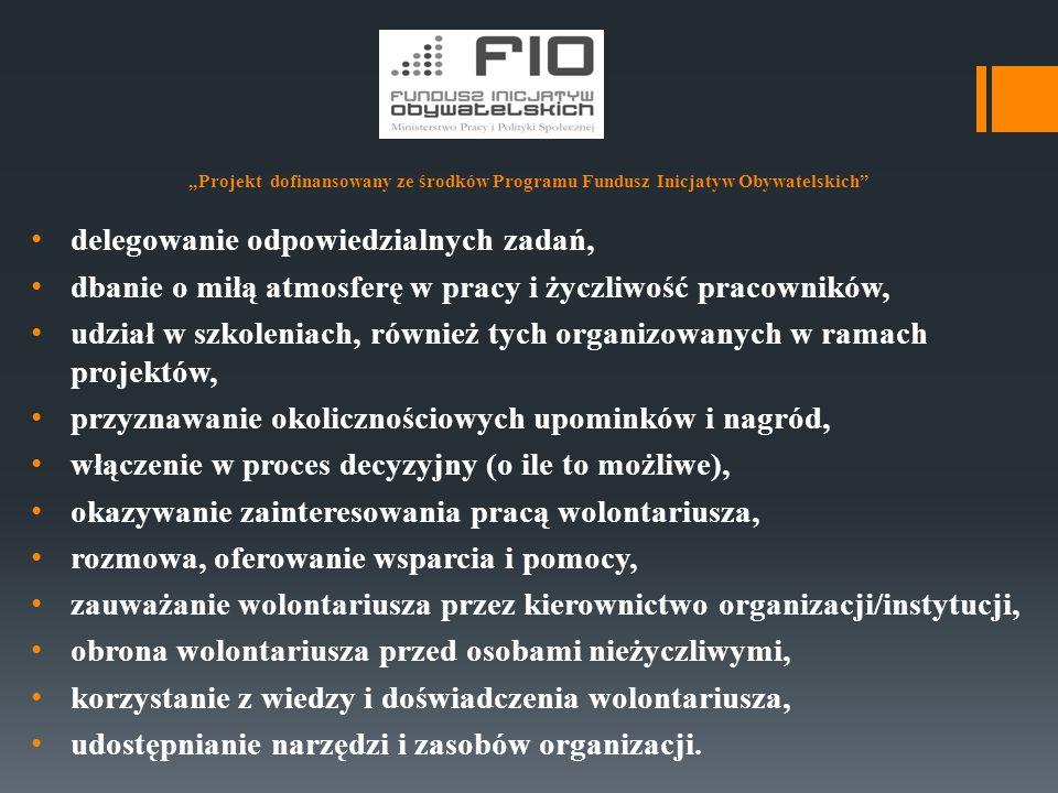 """""""Projekt dofinansowany ze środków Programu Fundusz Inicjatyw Obywatelskich"""" delegowanie odpowiedzialnych zadań, dbanie o miłą atmosferę w pracy i życz"""