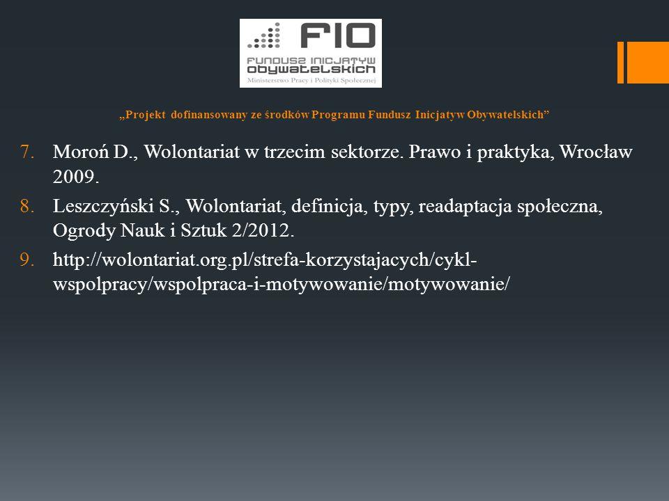 """""""Projekt dofinansowany ze środków Programu Fundusz Inicjatyw Obywatelskich"""" 7.Moroń D., Wolontariat w trzecim sektorze. Prawo i praktyka, Wrocław 2009"""