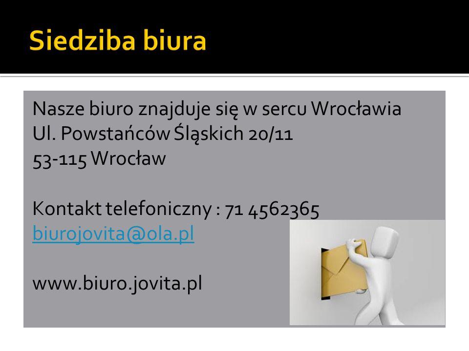 Nasze biuro znajduje się w sercu Wrocławia Ul.