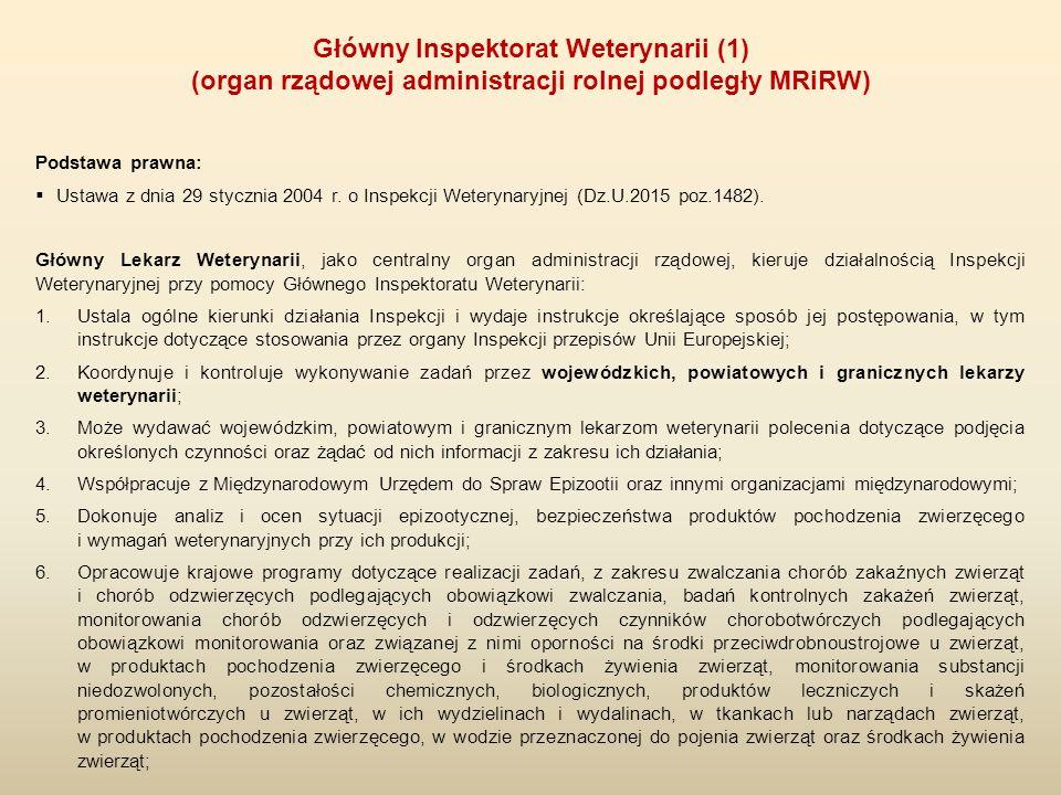 Podstawa prawna:  Ustawa z dnia 29 stycznia 2004 r. o Inspekcji Weterynaryjnej (Dz.U.2015 poz.1482). Główny Lekarz Weterynarii, jako centralny organ
