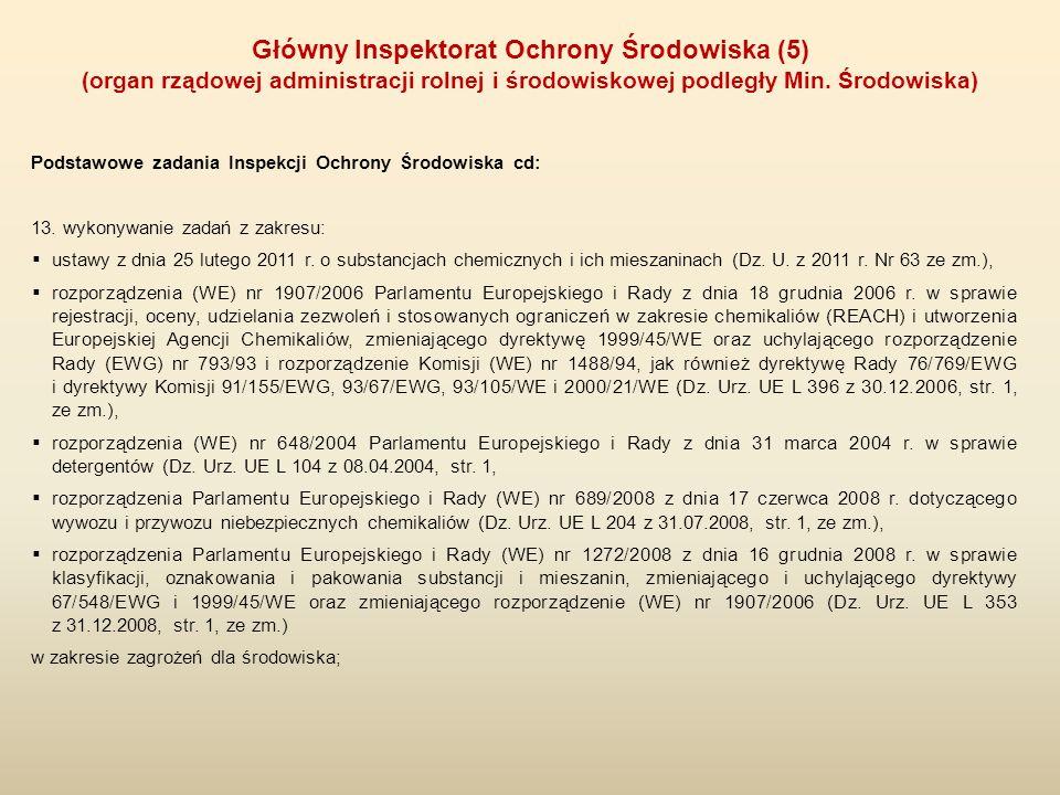 Podstawowe zadania Inspekcji Ochrony Środowiska cd: 13. wykonywanie zadań z zakresu:  ustawy z dnia 25 lutego 2011 r. o substancjach chemicznych i ic