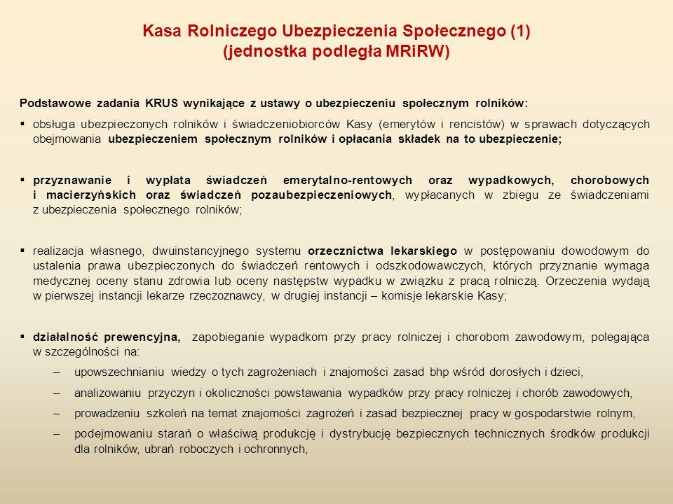 Podstawowe zadania KRUS wynikające z ustawy o ubezpieczeniu społecznym rolników:  obsługa ubezpieczonych rolników i świadczeniobiorców Kasy (emerytów