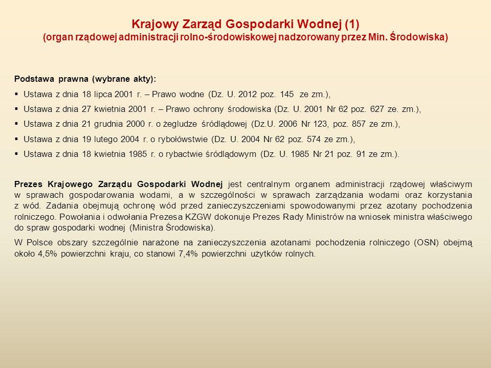 Podstawa prawna (wybrane akty):  Ustawa z dnia 18 lipca 2001 r. – Prawo wodne (Dz. U. 2012 poz. 145 ze zm.),  Ustawa z dnia 27 kwietnia 2001 r. – Pr