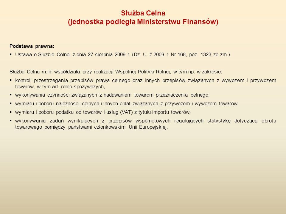 Podstawa prawna:  Ustawa o Służbie Celnej z dnia 27 sierpnia 2009 r. (Dz. U. z 2009 r. Nr 168, poz. 1323 ze zm.). Służba Celna m.in. współdziała przy