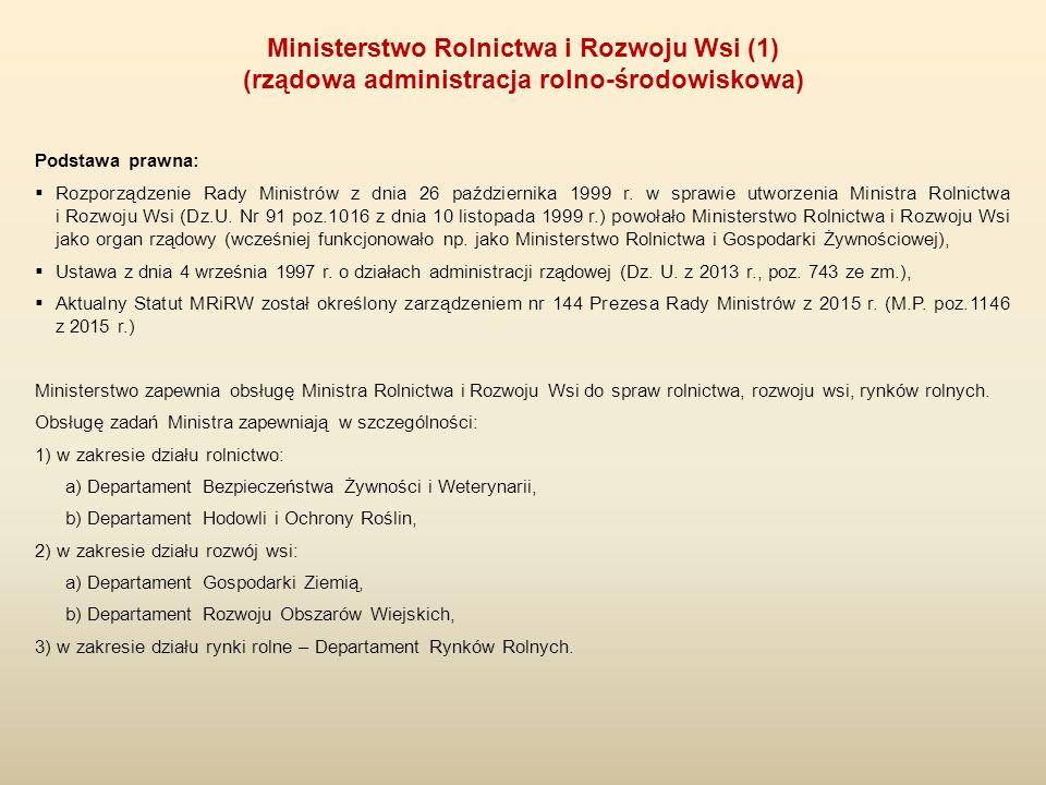 Podstawa prawna:  Rozporządzenie Rady Ministrów z dnia 26 października 1999 r. w sprawie utworzenia Ministra Rolnictwa i Rozwoju Wsi (Dz.U. Nr 91 poz