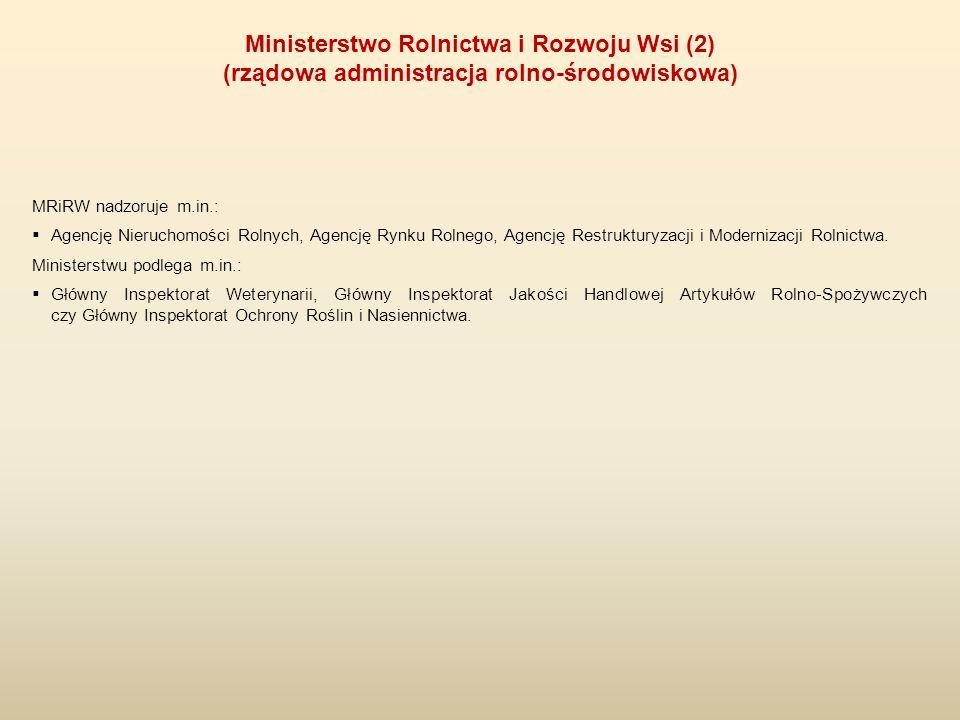MRiRW nadzoruje m.in.:  Agencję Nieruchomości Rolnych, Agencję Rynku Rolnego, Agencję Restrukturyzacji i Modernizacji Rolnictwa. Ministerstwu podlega