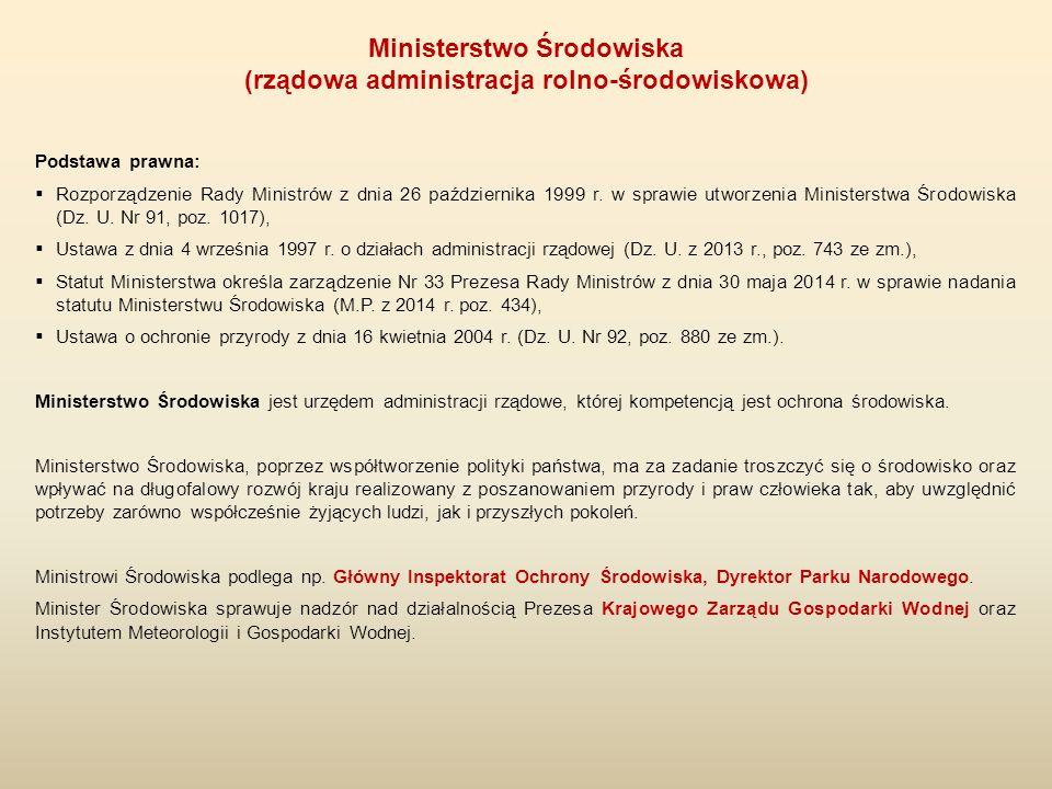 Podstawa prawna:  Rozporządzenie Rady Ministrów z dnia 26 października 1999 r. w sprawie utworzenia Ministerstwa Środowiska (Dz. U. Nr 91, poz. 1017)