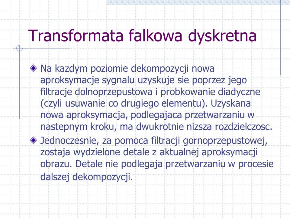 Transformata falkowa dyskretna Na kazdym poziomie dekompozycji nowa aproksymacje sygnalu uzyskuje sie poprzez jego filtracje dolnoprzepustowa i probkowanie diadyczne (czyli usuwanie co drugiego elementu).