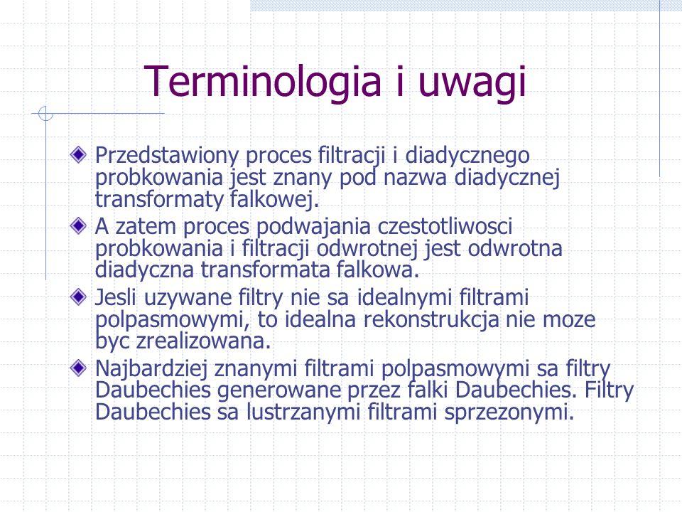 Terminologia i uwagi Przedstawiony proces filtracji i diadycznego probkowania jest znany pod nazwa diadycznej transformaty falkowej.