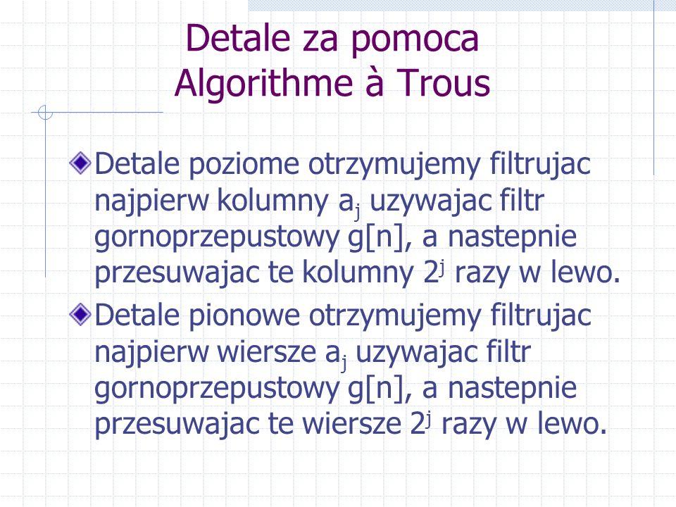 Detale za pomoca Algorithme à Trous Detale poziome otrzymujemy filtrujac najpierw kolumny a j uzywajac filtr gornoprzepustowy g[n], a nastepnie przesuwajac te kolumny 2 j razy w lewo.