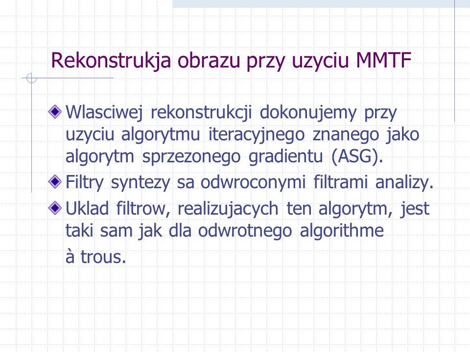 Rekonstrukja obrazu przy uzyciu MMTF Wlasciwej rekonstrukcji dokonujemy przy uzyciu algorytmu iteracyjnego znanego jako algorytm sprzezonego gradientu (ASG).