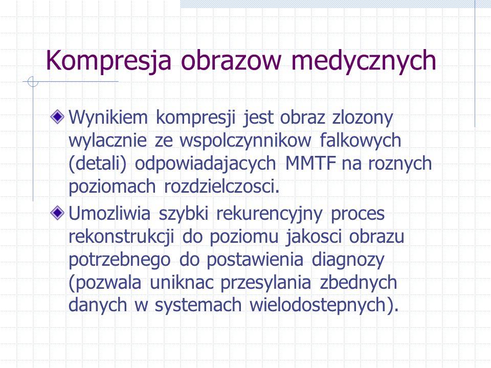 Kompresja obrazow medycznych Wynikiem kompresji jest obraz zlozony wylacznie ze wspolczynnikow falkowych (detali) odpowiadajacych MMTF na roznych poziomach rozdzielczosci.