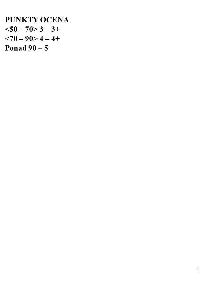 4 PUNKTY OCENA 3 – 3+ 4 – 4+ Ponad 90 – 5