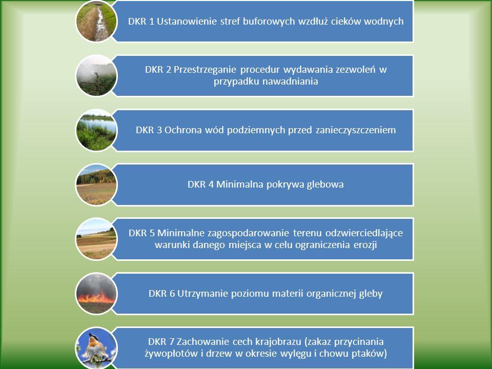 DKR 1 Ustanowienie stref buforowych wzdłuż cieków wodnych DKR 2 Przestrzeganie procedur wydawania zezwoleń w przypadku nawadniania DKR 3 Ochrona wód podziemnych przed zanieczyszczeniem DKR 4 Minimalna pokrywa glebowa DKR 5 Minimalne zagospodarowanie terenu odzwierciedlające warunki danego miejsca w celu ograniczenia erozji DKR 6 Utrzymanie poziomu materii organicznej gleby DKR 7 Zachowanie cech krajobrazu (zakaz przycinania żywopłotów i drzew w okresie wylęgu i chowu ptaków)