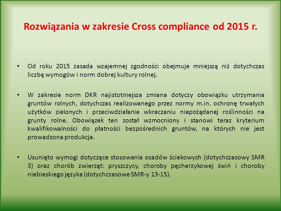 Rozwiązania w zakresie Cross compliance od 2015 r.