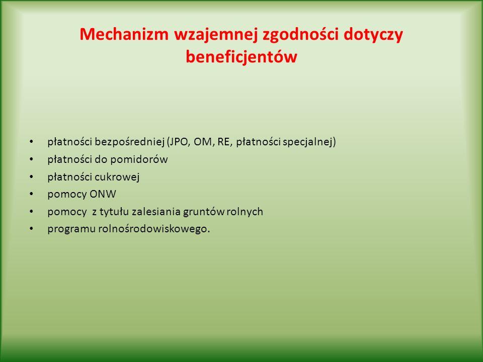 Mechanizm wzajemnej zgodności dotyczy beneficjentów płatności bezpośredniej (JPO, OM, RE, płatności specjalnej) płatności do pomidorów płatności cukrowej pomocy ONW pomocy z tytułu zalesiania gruntów rolnych programu rolnośrodowiskowego.