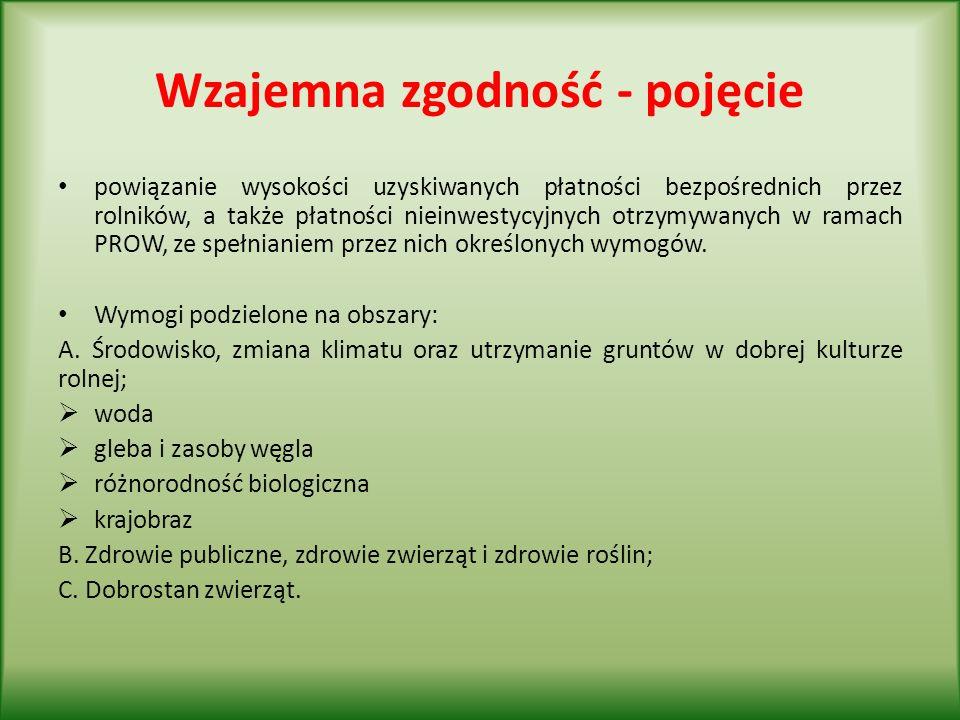 Wzajemna zgodność – pojęcie (c.d.) powiązanie wysokości uzyskiwanych płatności bezpośrednich przez rolników, a także płatności nieinwestycyjnych otrzymywanych w ramach PROW, ze spełnianiem przez nich określonych wymogów.