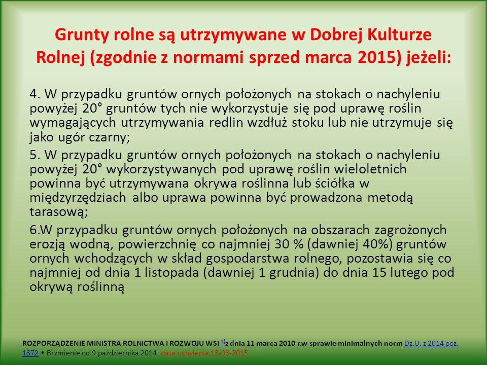 Grunty rolne są utrzymywane w Dobrej Kulturze Rolnej (zgodnie z normami sprzed marca 2015) jeżeli: 4.