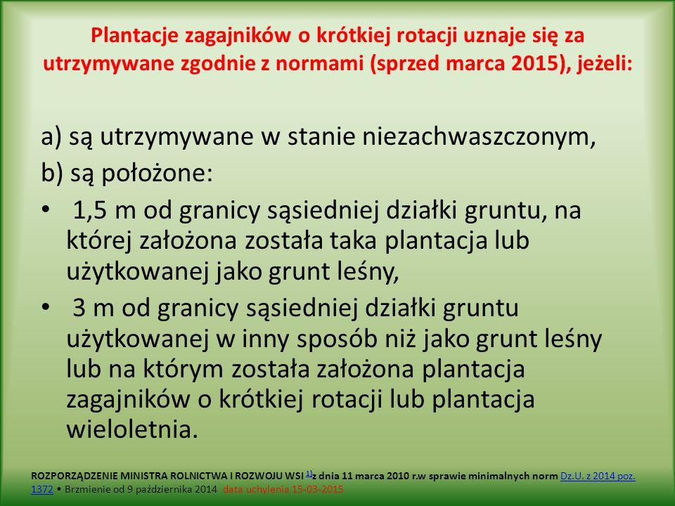 Plantacje zagajników o krótkiej rotacji uznaje się za utrzymywane zgodnie z normami (sprzed marca 2015), jeżeli: a) są utrzymywane w stanie niezachwaszczonym, b) są położone: 1,5 m od granicy sąsiedniej działki gruntu, na której założona została taka plantacja lub użytkowanej jako grunt leśny, 3 m od granicy sąsiedniej działki gruntu użytkowanej w inny sposób niż jako grunt leśny lub na którym została założona plantacja zagajników o krótkiej rotacji lub plantacja wieloletnia.