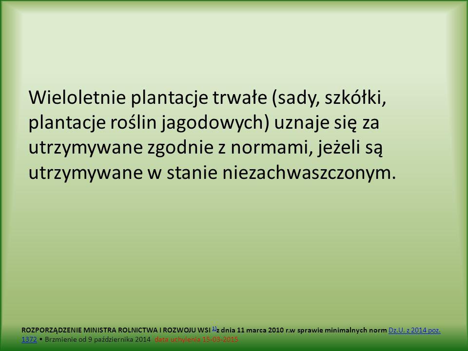 Wieloletnie plantacje trwałe (sady, szkółki, plantacje roślin jagodowych) uznaje się za utrzymywane zgodnie z normami, jeżeli są utrzymywane w stanie niezachwaszczonym.