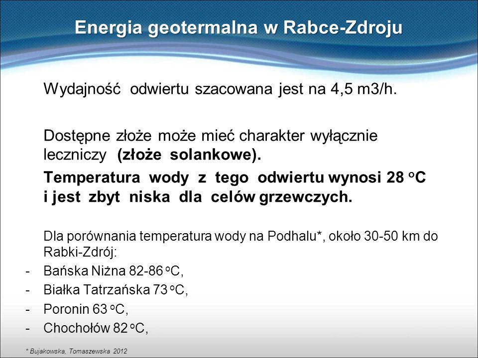 Wydajność odwiertu szacowana jest na 4,5 m3/h. Dostępne złoże może mieć charakter wyłącznie leczniczy (złoże solankowe). Temperatura wody z tego odwie