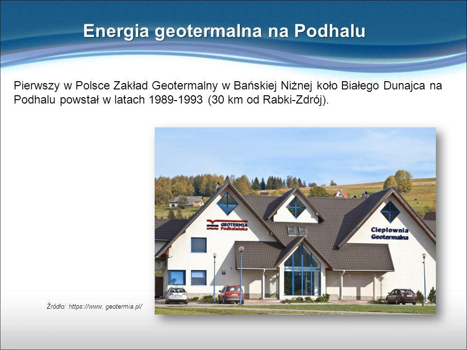Energia geotermalna na Podhalu Pierwszy w Polsce Zakład Geotermalny w Bańskiej Niżnej koło Białego Dunajca na Podhalu powstał w latach 1989-1993 (30 k