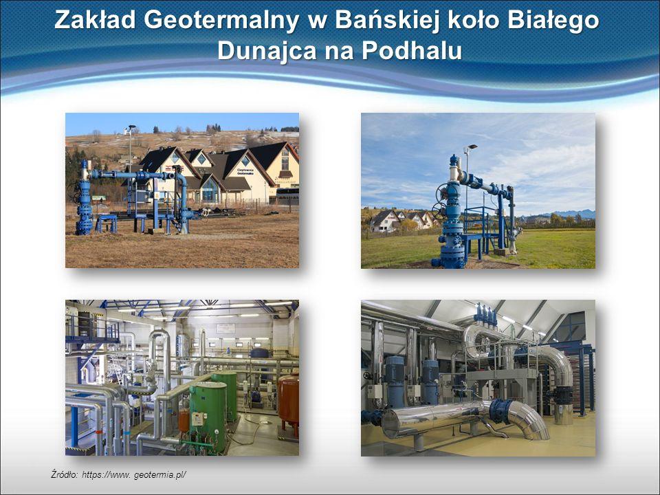 Zakład Geotermalny w Bańskiej koło Białego Dunajca na Podhalu Źródło: https://www. geotermia.pl/